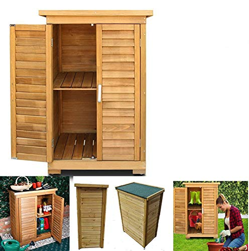 All Weather Portable Wooden Outdoor Garden Cabinet Shed Shelf Cupboard Storage For Tools Toys