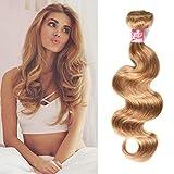 XCCOCO Peruvian Body Wave Human Hair Bundles Color #27 Honey Blonde Weave Hair Human Bundles One Bundle Blonde Ombre Hair 100g/bundle 18inch