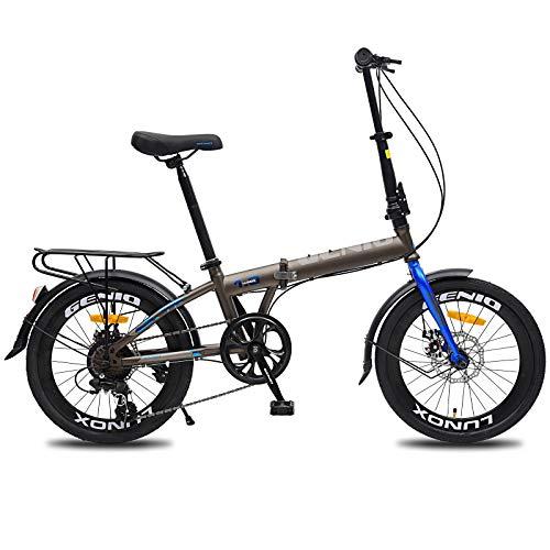 Huntaway Folding Bike Compact Bike with 7 Speeds Disc-Brakes High Tensile Steel 20-inch Wheels for Adult Men Women and Teens Grey&Blue