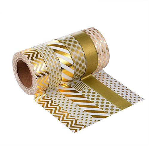 Très Chic Mailanda Lot de 6 Bandes Adhésives - Ruban Tape Washi Masking Scrapbooking Decorative Noel Cadeau Aluminium Emballage Magnétique (15x10mm (Style 05)