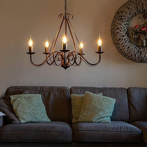 QAZQA - Landhaus   Vintage Klassischer Kronleuchter   Chandelier rostbraun 5-flammig-Licht - Giuseppe 5-flammig   Wohnzimmer   Küche - Stahl Rund - LED geeignet E14
