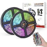 Tira de LED de 10M 5050 RGB SMD 300 LED IP65 a Prueba de Agua, Tira de Luces LED con Control Remoto por Infrarrojos 44 Teclas, Luz de Neón LED Flexible, para Decorar Dormitorios, TV, Escaleras(EU)