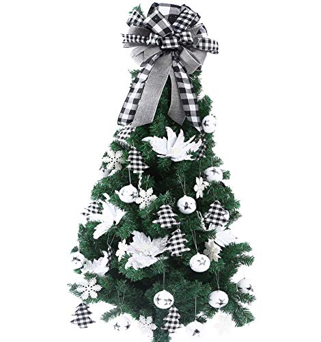 FLASH WORLD 40ct Christmas Tree Ornament Set,Xmas Tree Decorations with Gnome hat,Topper Bow,Hanging Decorative Set for Christmas Holiday Party Decor