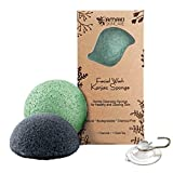 AMAKI SKINCARE Konjac Sponge Facial Cleanser with Added Green Tea and Activated Bamboo Charcoal-Sensitive to Oily and Acne Prone Skin Gentle Face Scrub