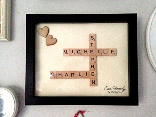 Cuadro personalizado familiar con letras de Scrabble