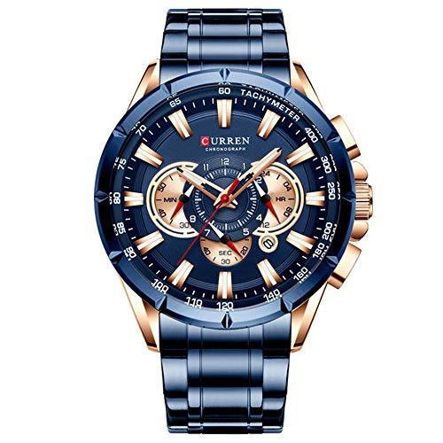 Relojde Correa de Acero Hombres nuevos Relojmilitar Multifuncional Duradero Relojde Cuarzo para Hombre