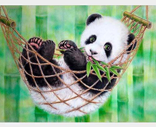 Geschilderd bamboe bos hangmat Panda 5D DIY diamant tekenen volledige boor ronde boor kruis steek door nummer plakken lijm schilderij borduurwerk 40cmx50cm 40cmx50cm