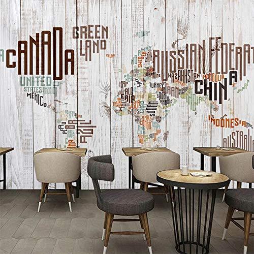 Muurschildering Muurschilderingen voor de woonkamer TV sofa achtergrond behang moderne wooncultuur kamer Retro Engels alfabet houten plank 350cm x 256cm