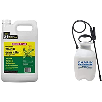 Amazon Com Compare N Save 016869 Concentrate Grass And Weed Killer 41 Percent Glyphosate 1 Gallon White Chapin International 20075 Disinfectant Bleach Sprayer 1 Gallon Translucent White Garden Outdoor