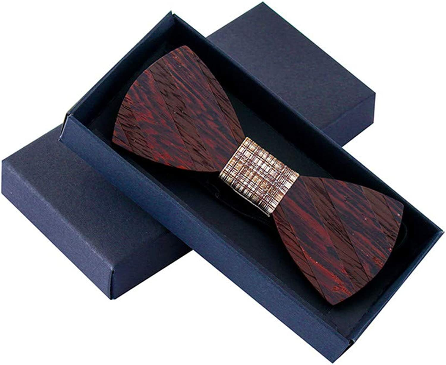 Delicate Personality Tie Wood Striped Tie Wedding Wooden Bow Tie Wooden Bows with Gift Box (color   A)