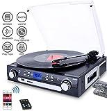DIGITNOW! Tourne-Disque Bluetooth, Platine Vinyle 33/45/78 TR / Min avec Haut-parleurs intégrés, encodage du Vinyle au MP3, encodage SD / USB, Radio, Cassette, entrée auxiliaire