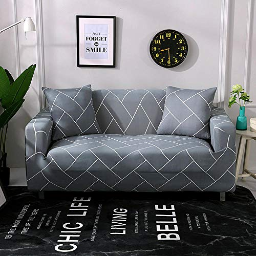 Sofa Covers 4 Seater Gray Couch Cover Polyester Spandex Printed Sofa Slipcover Stretch Fabric Sofa Protector Couch Pet Protector,Settee Covers for Loveseat