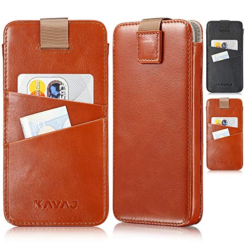 KAVAJ Case Compatible With Apple iPhone 12 Pro Max 6.7' Leather - Miami - Cognac Brown Wallet Cover Phone Case with card holder