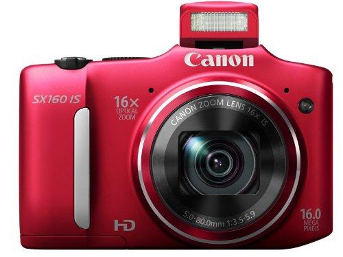 Canon PowerShot SX160 IS Digitalkamera (16 MP, 16-fach opt. Zoom, 7,5cm (3 Zoll) LCD) rot