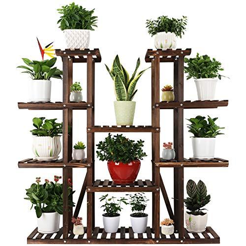 Ufine 9 Tier Wood Plant Stand 47.2' High Widen Carbonized 17 Potted Flower Pot Organizer Shelf Display Rack Holder for Indoor Outdoor Patio Garden Corner Balcony Living Room