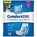 OUT! Disposable Male Dog Diapers   Absorbent Male Wraps with Leak Protection   Excitable Urination, Incontinence, or Male Marking