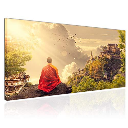 Topquadro XXL Wandbild Leinwandbild 100x50cm, Meditation bei Sonnenuntergang, Tibetischer Mönch, Tempel Bergen - Panoramabild Keilrahmenbild, Bild auf Leinwand - Einteilig