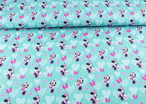 Disney Minnie Mouse-Stoff auf Baumwoll-Jersey ab 25 cm (Türkis)