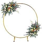 YANGB Runder Hochzeitsbogengold-Kreisbogen mit Ständern Metall-Reifen-Hintergrund-Dekorationen für Blumenballon-Girlanden-Geburtstags-Hochzeits-Foto,Gold,2m