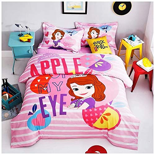 Featuring Disney Sofia the First Bedding Sheet Set Single Queen Twin Full Double Size 【Free Express Shipping】 【100% Cotton】 Cartoon Girly Princess Pink 3 or 4 Pieces Bed (Queen / Double / Full Size)
