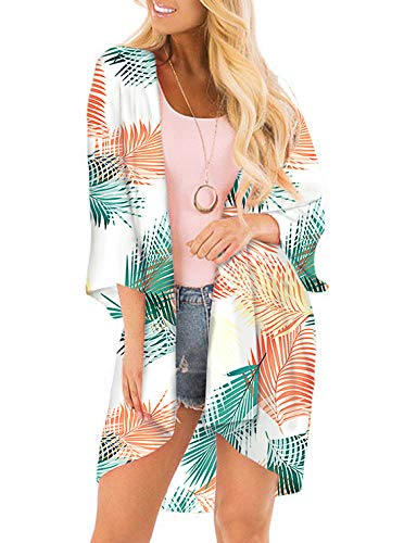 SHEKINI Mujer Blusa Damas Chal Ropa de Playa Ropa de Playa Bohemia Impresa Suelta (XL, Hojas)