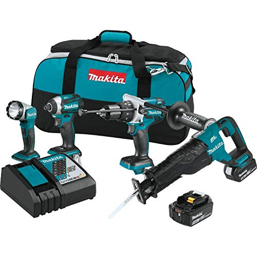 MAKITA XT450T 18V LXT 18-Volt Lithium-Ion Brushless Cordless 4-Piece Combo Kit (Renewed)