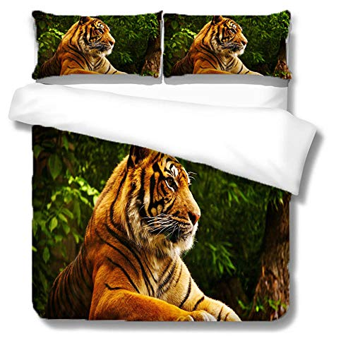 HLL 3D animal printing Bedding set 3 pieces King of the Forest Tiger with zipper closure suitable for children boys and teenagers