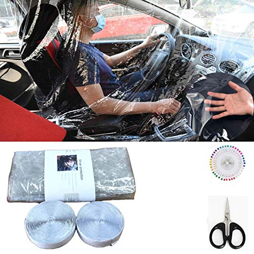 Car Taxi Isolation Film Plastic, 78.7 x 55.1inch Transparent Plastic Anti-Fog Full Surround Protective Shields Curtain Cab Front and Rear Row Car Taxi Protective Film for Driver