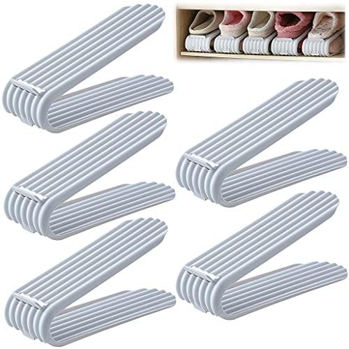 5 paquetes de ranuras ajustables para zapatos, organizador de zapateros, ahorro de espacio para zapatos, almacenamiento de soporte para zapatos, apilador