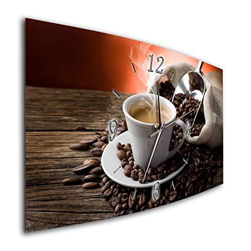 Bilder-Paradies Wanduhr Wanduhren Funkwanduhr Quarzwanduhr leises Uhrwerk kein Ticken handgefertigt in Deutschland Bild Bilder Wohnraumaccessoires Wohnraumdekoration Kaffee Kaffeetasse 6885-1a