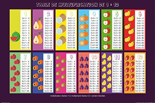 1art1 Ecole Posters XXL - Table De Multiplication de 1 à 12 (120 x 80 cm)