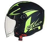 Qtech Jet Casco Moto Helm Doppia Visierra Parasole Nero Opaco Vespa EC 22-05 Approvato Giallo - M (57-58cm)