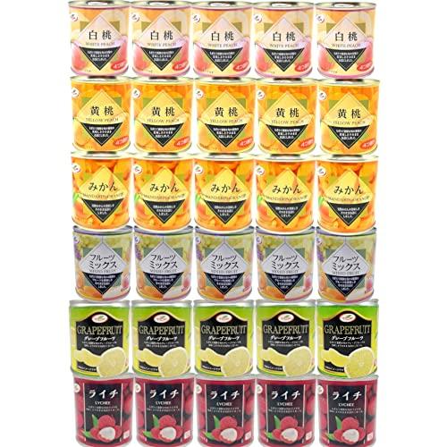 フルーツ 缶詰 6種30缶 詰め合わせ (みかん 白桃 黄桃 フルーツミックス グレープフルーツ ライチ ) 業務用 まとめ買い