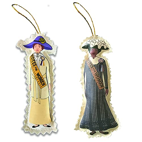 2 Suffrage Cloth Ornaments Plus Gold Metal VOTES FOR WOMEN Button. Suffragette. Suffragist. Valentine. Limited Edition