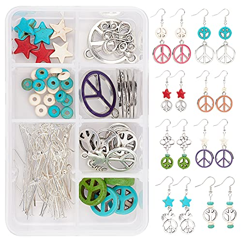 SUNNYCLUE 1 Box DIY 8 Pairs Peace Sign Dangle Earrings Making Kit with Turquoise Peace Love Charm Starfish Spacer Beads Celtic Knot Connectors for Jewelry Making Supplies Craft Instruction