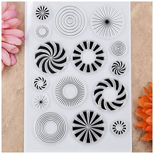 Kwan Crafts Round Pinwheel Clear Stamps for Card Making Decoration and DIY Scrapbooking