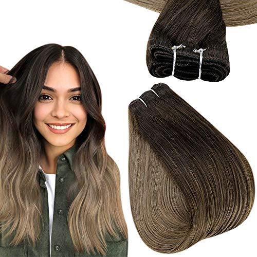 Easyouth Tissage Naturel Cheveux Humain Remy Human Hair Extensions for Cosplay Couleur Brun Foncé passant au Brun Clair Real Bundles of Hair 70g 12pouce