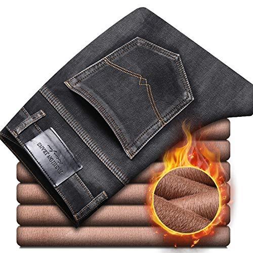 Vaqueros de Moda clásica Pantalones Vaqueros Grises Cálidos Gruesos De Invierno Nuevos para Hombre, Pantalones De Mezcli