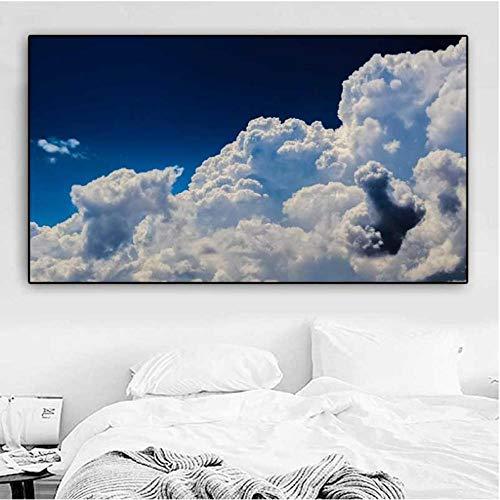 Rjunjie Landschap Printer Modern Cloud Blue Sky Painting gedrukt op canvas wandafbeeldingen voor woonkamer Home Decoration (60x100 cm zonder lijst)