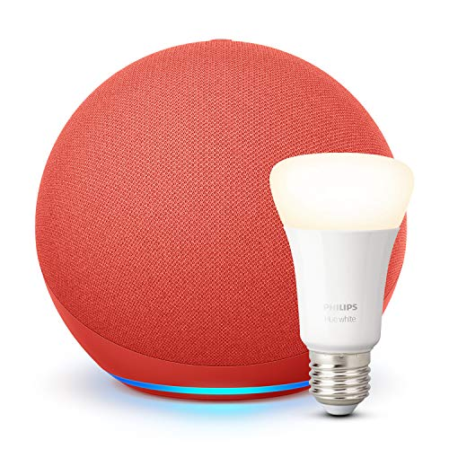 Der neue Echo (4. Generation), PRODUCT(RED) + Philips Hue White LED-Lampe
