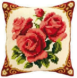 Vervaco Red Roses Cross Stitch Cushion, Multi-Colour