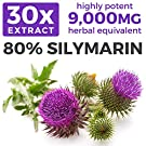 Organic Milk Thistle Extract (80% Silymarin) Super-Concentrated for 9,000mg of Milk Thistle Seed Power: Supports Liver Cleanse, Detox & Health - Vegan - 60 Capsules (Pills) #1