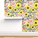 Spoonflower Peel and Stick Removable Wallpaper, Sunflower Garden Navy Stripes Summer Roses Print, Self-Adhesive Wallpaper 24in x 108in Roll