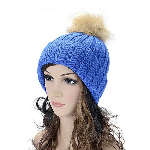 mlpnko Damen einfarbig Nachahmung Kaninchenhaar hängenden Ball Curling Gehörschutz Wollmütze gestrickt Candy Farbe Wollmütze Bao blau Kinder