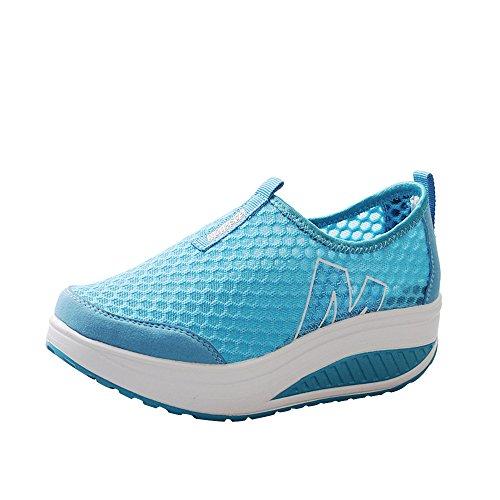 Xmiral Atmungsaktive Mesh Wedge Heels Für Damen Dickbesohlte Casual Wedge Schuhe Sportschuhe(Himmelblau,Blau)
