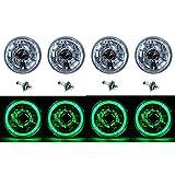 OCTANE LIGHTING 5-3/4' Green Led Halo Halogen Light Bulb Headlight Angel Eye Crystal Clear Set