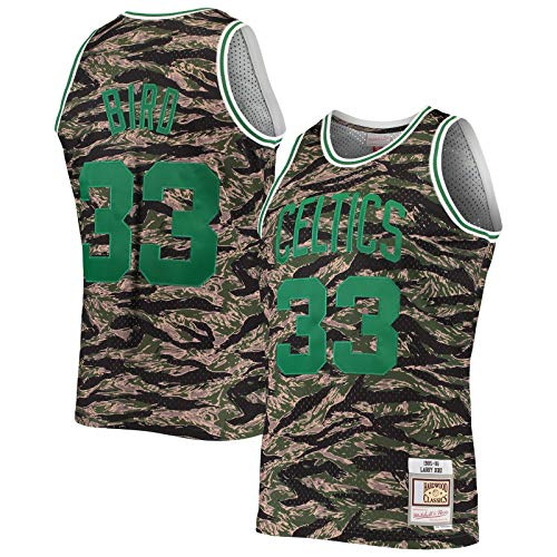 LANHUA Hardwood Classics Tiger Swingman JerseyMen's #33 Larry Boston Basketball Jersey Celtics manga corta #33 Bird Sports Camo - Icono Edition-M