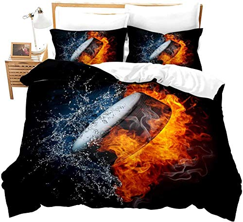 QINCO Bedding Set Sports red flame blue water drops ice hockey pattern Home Comforter Cover Microfiber Duvet Cover Set Boys Girl Single Double Bed CoverSuper King (260 x 230 cm)
