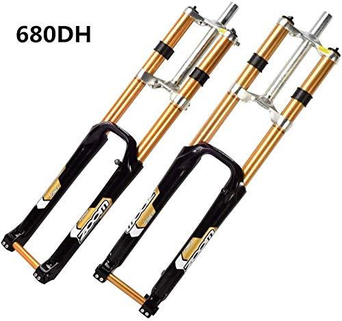 BZLLW Fahrrad-Gabel, Bergfahrrad Federgabel Magnesiumlegierung 26/27,5 Zoll Gabel, Doppel-Schulter-Control DH MTB Downhill AM Hydraulic gerades Rohr (Size : 26in)