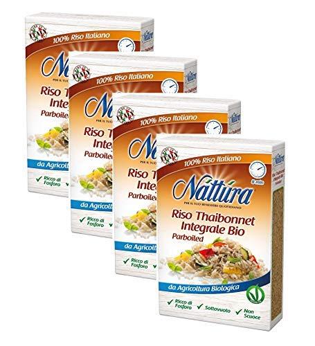 Nattura für Ihr tägliches Wohlbefinden Bio-Vollkorn-Thaibonnet-Reis Fertig in 8 Minuten Phosphorreich - 4 x 400 Gramm